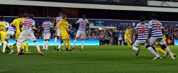 Reading Nicky Shorey scores his side's second goal during the Capital One Cup, Third Round match at Loftus Road, London