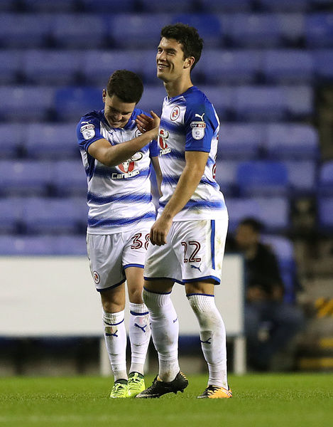 Reading's Liam Kelly (left) celebrates with his team mate Pelle Clement after he scores his and their side's second goal of the game during the Carabao Cup, first round match at the Madejski Stadium, Reading