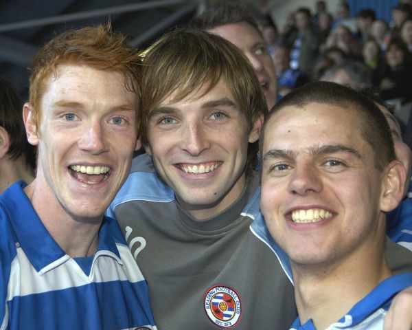 Dave Kitson, Bobby Convey, & Ivar Ingimarsson celebrate winning the Championship title after the 5-0 against Derby County