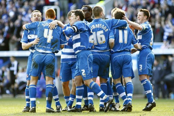 Players celebrate John Osters 70th minute goal against Derby