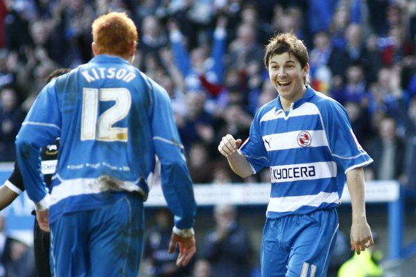 John Oster can't believe he has scored as Dave Kitson runs over to congratulate him