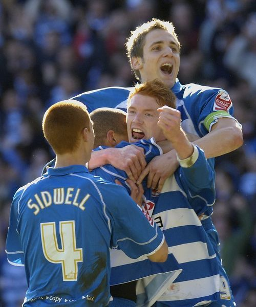 James Harper is joined by Sidwell, Kitson & Doyle to celebrate his 59th minute goal against Derby County