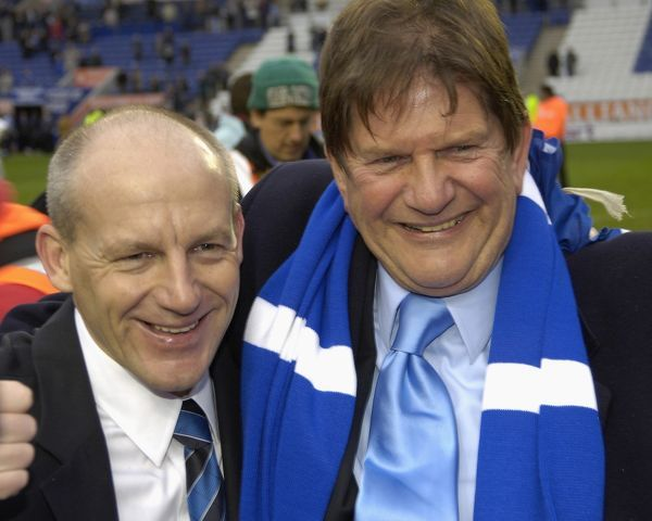 John Madejski and Steve Coppell join together to celebrate promotion to the Premiership