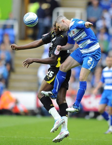 Reading's Andy Griffin (right) and Cardiff City's Jay Emmanuel-Thomas (left) in action