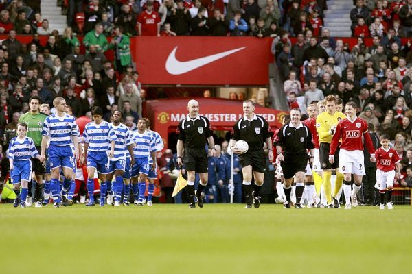 Reading players emerge from the tunnel at Old Trafford