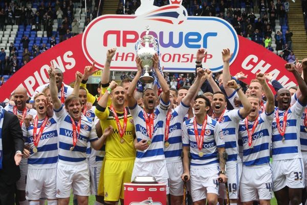 The Reading FC team lift the the Npower Championship Trophy at the Madejski Stadium, Reading
