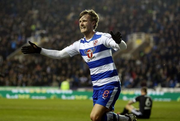 Reading's John Swift scores their first goal during the Sky Bet Championship match at the Madejski Stadium, Reading