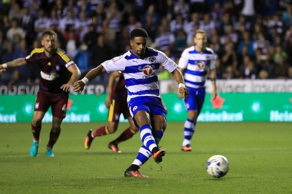 Reading's Garath McCleary scores his side's first goal of the game from a penalty during the Sky Bet Championship match at the Madejski Stadium, Reading