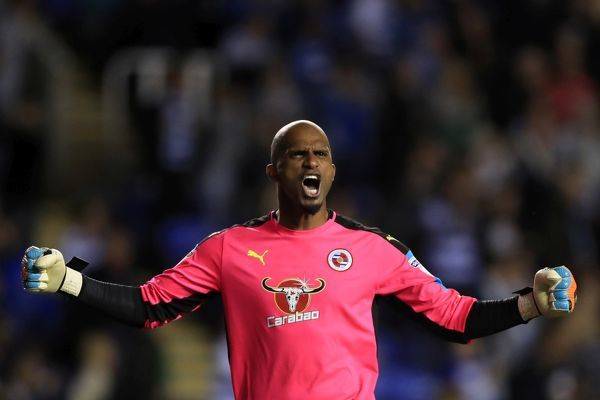 Reading goalkeeper Ali Al-Habsi celebrates the second goal from team mate Danny Williams (not pictured) during the Sky Bet Championship match at the Madejski Stadium, Reading