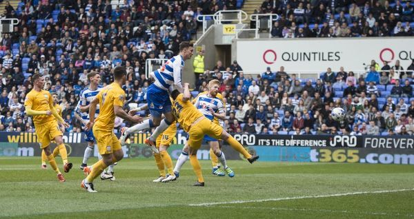Reading's Jake Cooper heads into the net but his effort is ruled out