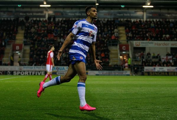 Reading's Nick Blackman celebrates the opening goal during the Sky Bet League Championship match at the New York Stadium, Rotherham
