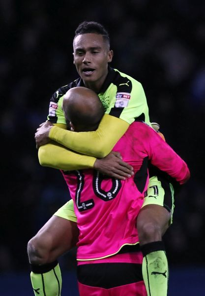 Reading goalkeeper Ali Al Habsi celebrates with Jordan Obita (top) after Adrian Popa (not pictured) scores his side's second goal of the game during the Sky Bet Championship match at Hillsborough, Sheffield