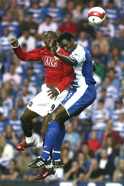 Sonko and Saha jump for the ball in the thrilling 1-1 draw at the Madejski
